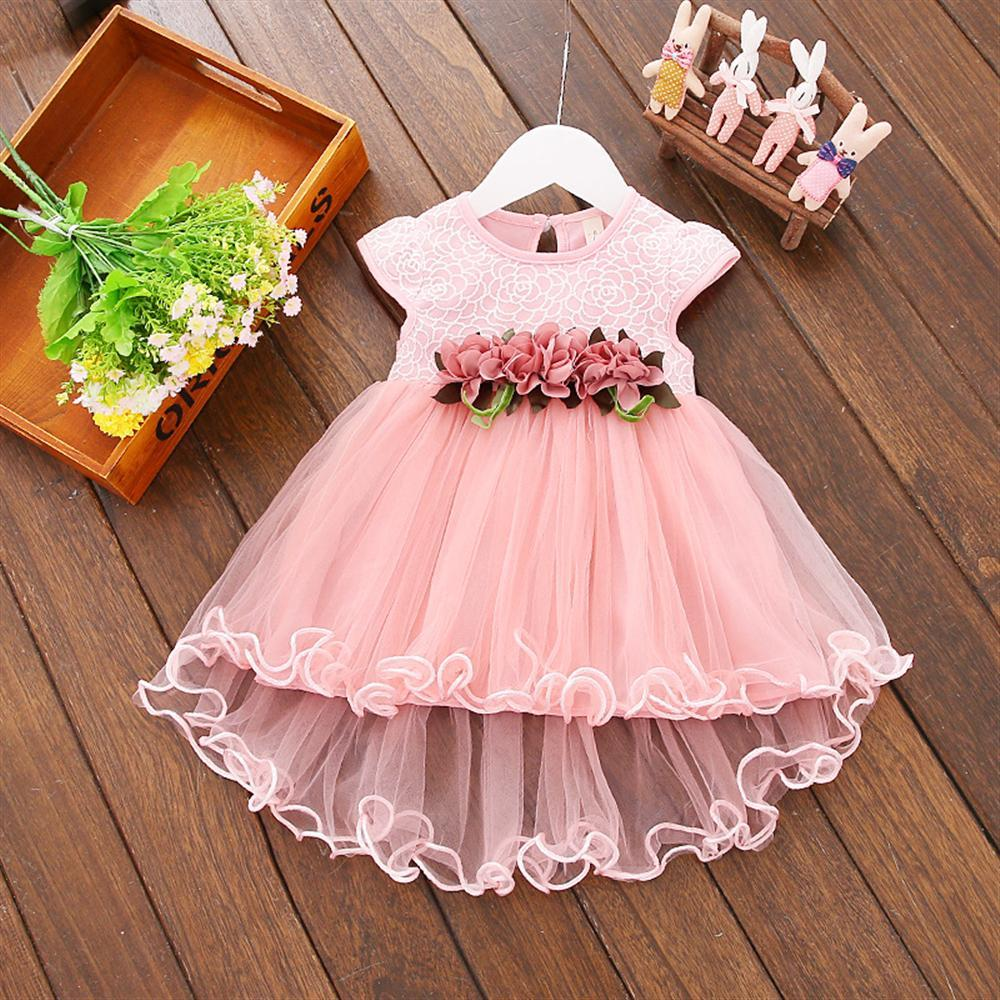 0f1739cb4bfa3 Flower Newborn Baby Dress 2018 New Summer Cute Baby Girls Clothes Mesh  Solid Infant Clothing 1 Year Birthday Dress