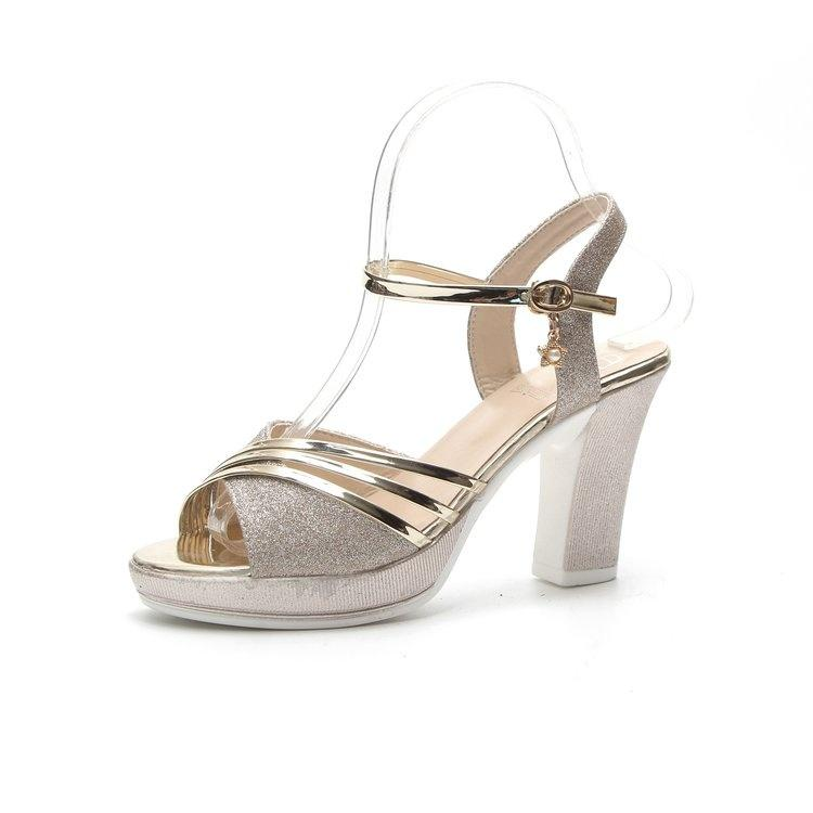 9dd41a482d3f Toe Platform High Heels Sandals Gold Silver Chunky Heels Fashion Shoes For  Party Strappy Sandals Skechers Sandals From Yrmmmm, $24.93| DHgate.Com