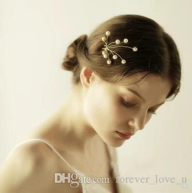Charming Gold Hairpin Stunning Pearls Headpieces U Type Clip Wedding Party Bridal Hairpins High Quality