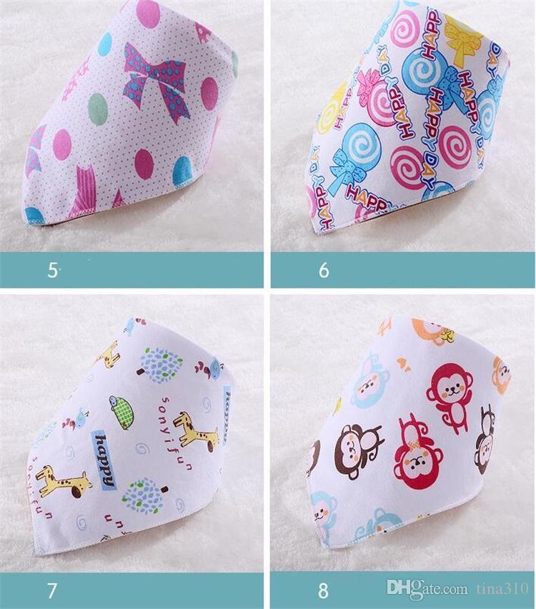 Yeni Bebek Önlükler Havlu Üçgen Burp Tükürük Burp bezleri karikatür Bebek Yürüyor Bandana Eşarp Çift Katmanlar Çocuklar Hemşirelik Önlükler 46 tasarım B0465
