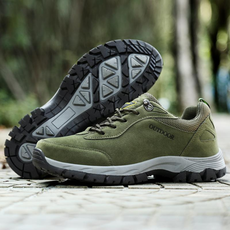 info for d923b 7ed91 New Men s Hiking Shoes Suede Leather Sport Shoes Men Trail Outdoor Walking  Boots Climbing Spring Summer Trekking Green Brown Gray EUR39-49