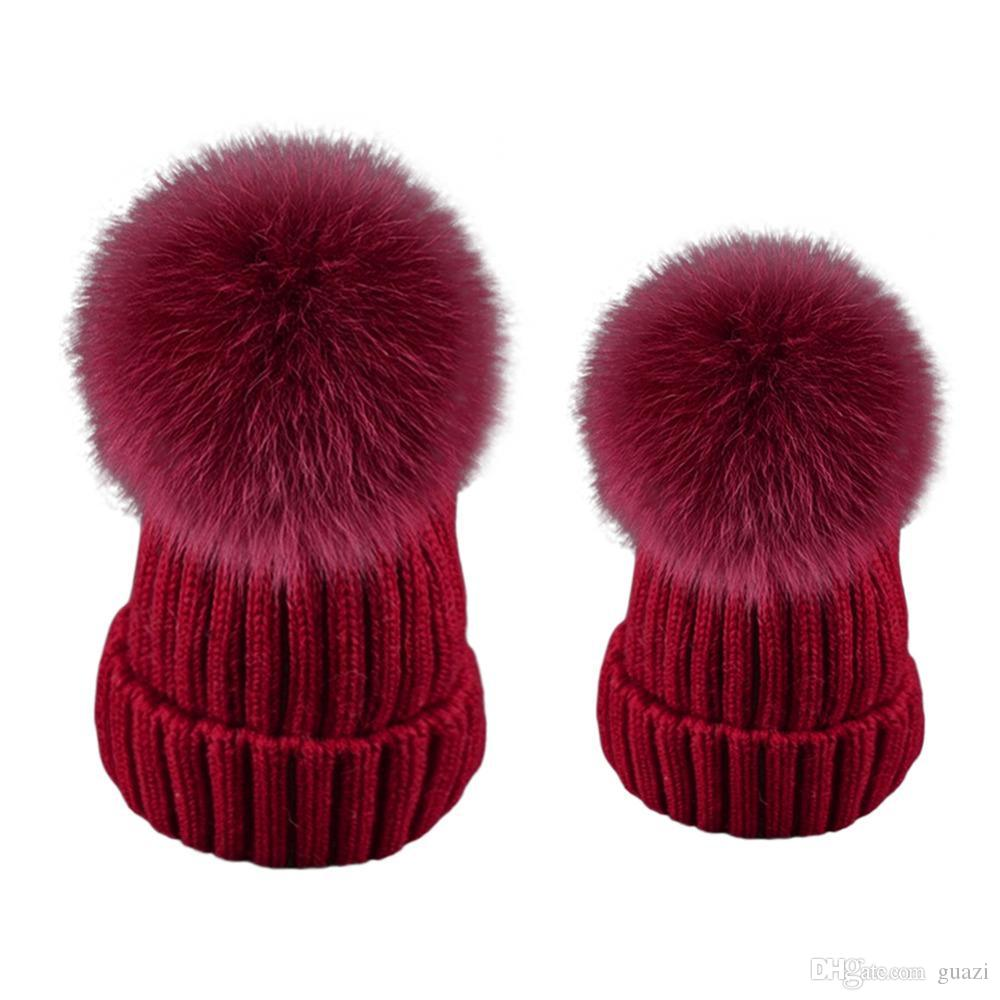 Mother Baby Hat Warm Beanie Hats Winter Real Fox Raccoon Fur Pompom ... 8c3fc73a03