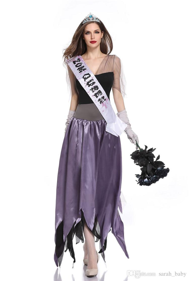 Attractive 2019 2018 New Halloween Luxury Black Purple Ghost Bride Costume Beauty Miss Zombie  Costume Gothic Vampire Stage Dresses Online From Sarah_baby, ...