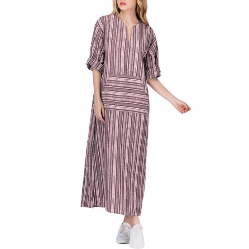 507dfbb7fb 2019 Women Elegant Bohemian Plus Size Striped Printing Long Dress Loose  Long Sleeve V Neck Linen Dyed Dresses From Wuyasi