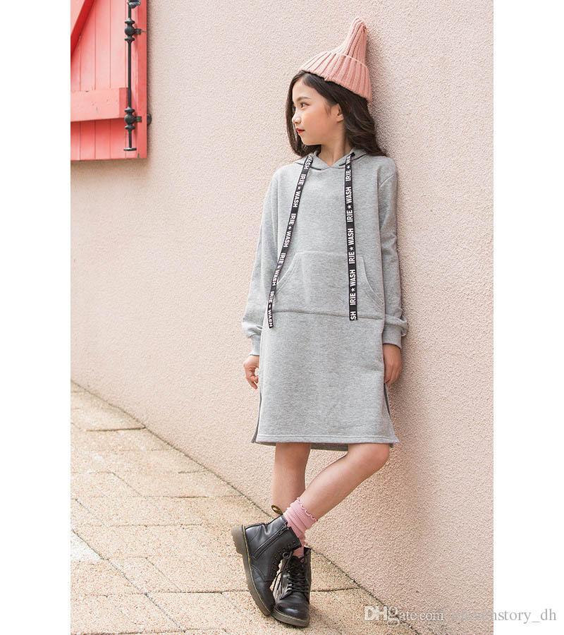 Großhandel 5 Bis 14 Jahre Mädchen Winter Festes Kleid Kinder