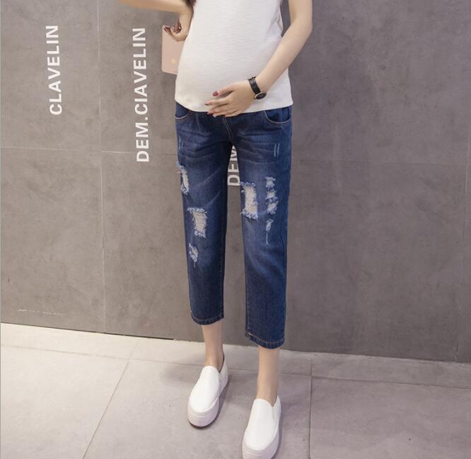 993f1917d Compre Hole Monos Ninth Jeans Pantalones De Maternidad Para Mujeres  Embarazadas Ropa Pantalones Enfermería Prop Legging Embarazo Ropa Nuevo A   70.86 Del ...