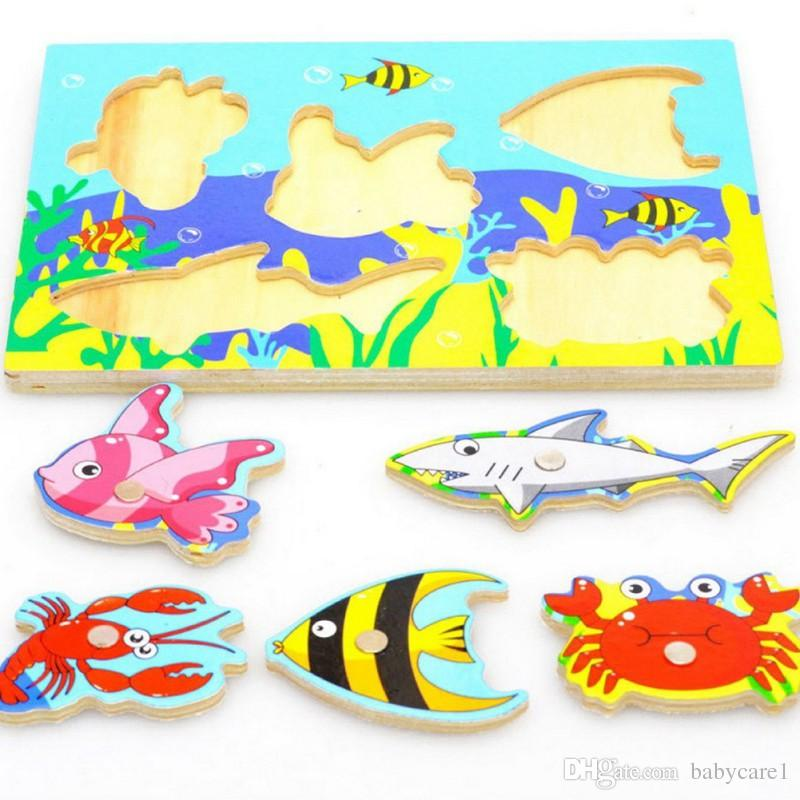2017 New Style 3D Magnetic Educational Fishing Puzzles Wooden Toys Children Interactive Funny Games