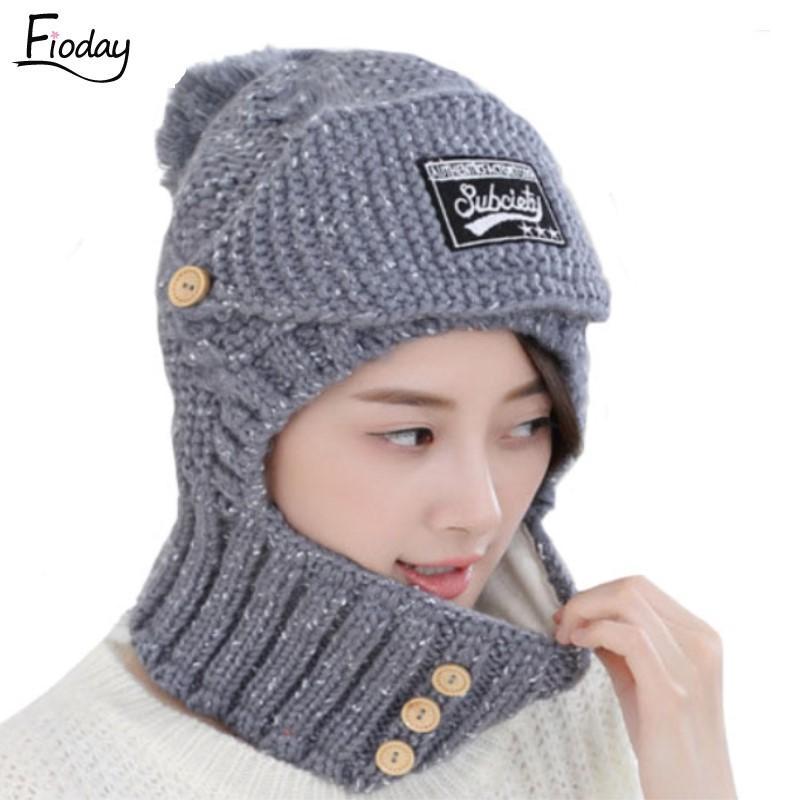 Winter Hats Sets Scarf Women Adjustable Mask Set Neck Covers Head