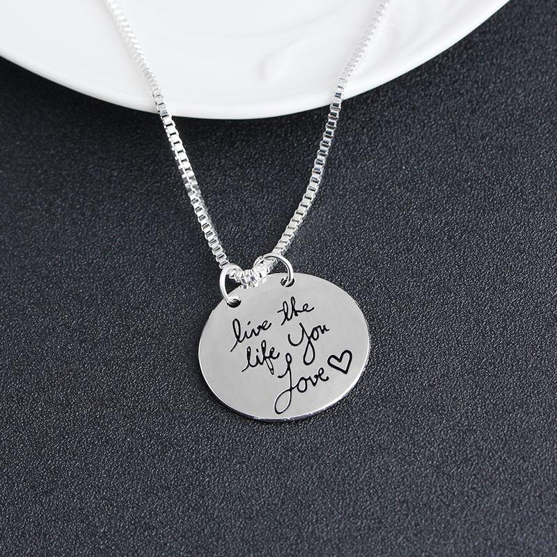 2019 nouveaux bijoux de mode apprendre d'hier vivre pour aujourd'hui l'espoir de demain lettre pendentif collier cadeau pour les femmes 2 couleurs ZJ-0903217