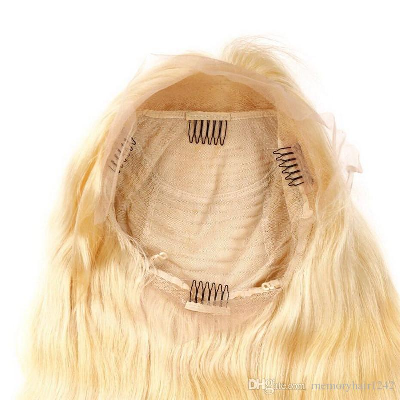 Vrigin Blonde Front Lace Human Hair Wig 613 straight Gluless Lace Front Remy Human Hair for Black White Women Natural Hairline
