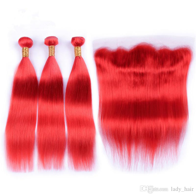 Virgin Brazilian Colored Red Human Hair Bundles with Lace Frontal 13x4 Straight Pure Red Ear to Ear Full Lace Frontal Closure with Weaves