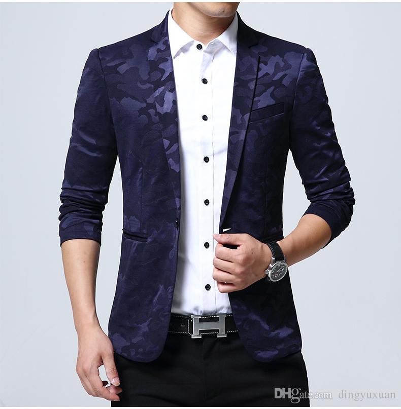 94574d76da Compre Venda Quente Mens Padrão De Camuflagem Blazer Jacket Slim Fit Terno  Para Homens Grandes Plus Size Camo Blazers Ternos 4XL 5XL De Dingyuxuan