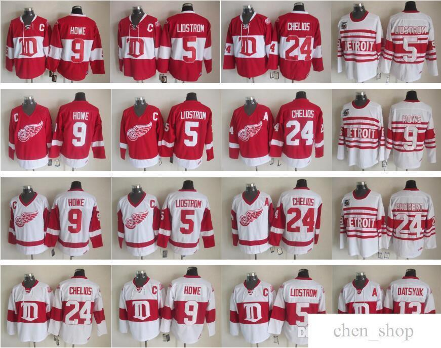 8cc137399f3 2019 13 Pavel Datsyuk Jersey Men Detroit Red Wings 9 Gordie Howe 5 Nicklas  Lidstrom 24 Chris Chelios Vintage Classic 75th Red White From Chen shop