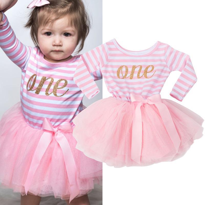 13a79afbe8675 Acheter Hiver Bébé Fille Baptême Robe Vêtements Pour Le Nouveau Né 1 2 3  Année De Fête D anniversaire Robe Cadeau À Manches Longues Rayé Bébé Robes  De ...