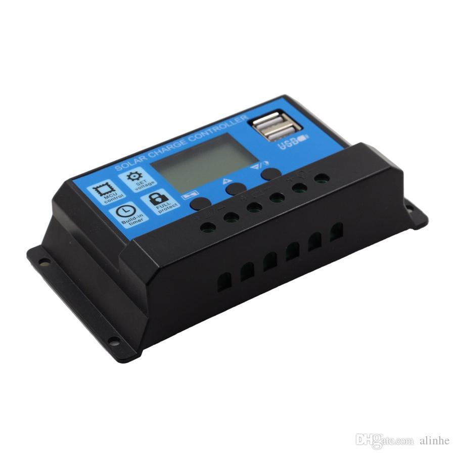 30A / 20A / 10A 12V 24V Auto lavoro PWM regolatore di carica solare con LCD Dual USB 5V uscita pannello solare caricabatterie regolatore PV Home