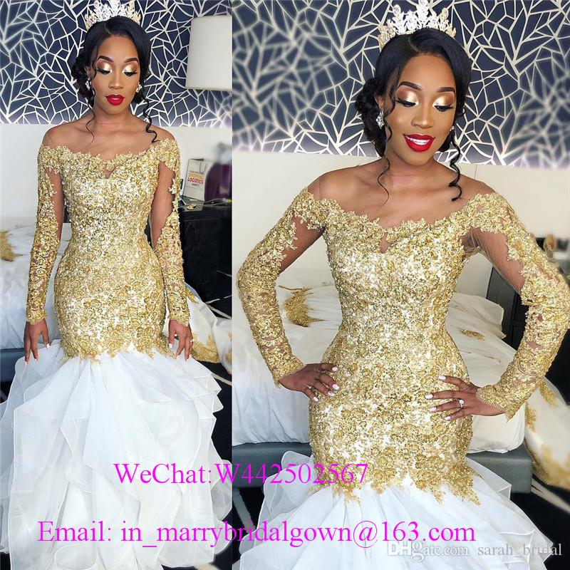 Sexy Plus Size Mermaid African Wedding Dresses with Gold Lace Appliques 2020 Long Sleeves Sequined Beaded Bellanaija Arabic Bridal Gowns