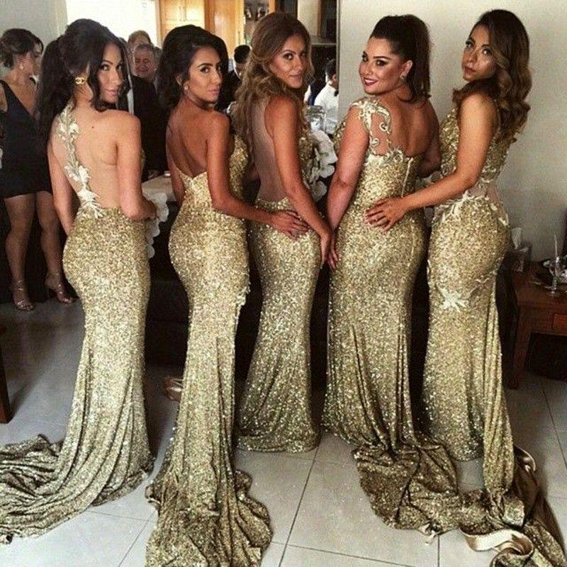 Sparkly bling ouro sereia lantejoulas vestidos de dama de honra backless fenda plus size empregada dos vestidos de honra vestido de noiva