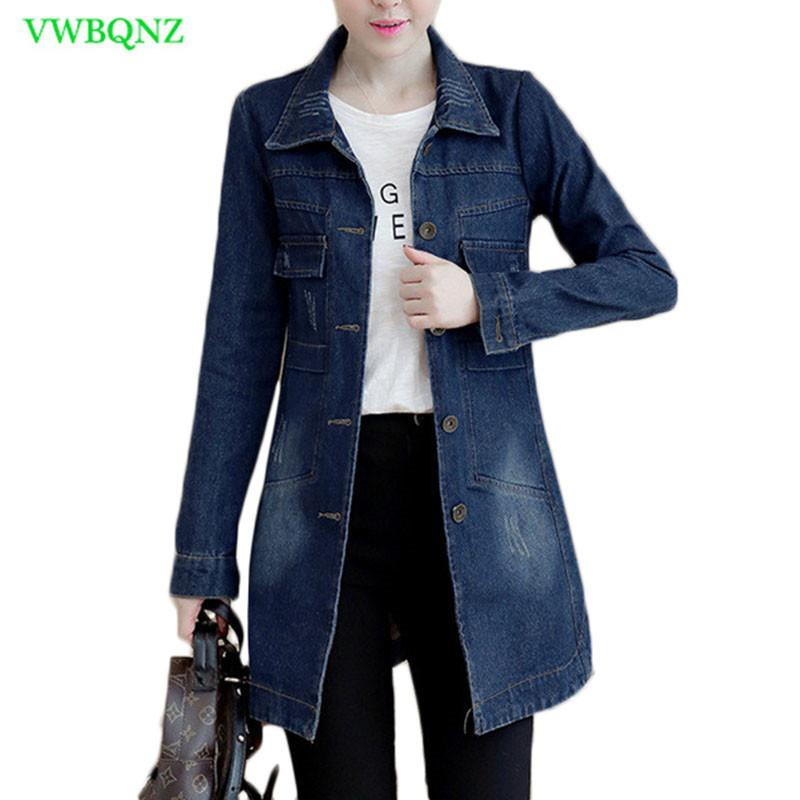 fc48b0a59b2 Autumn Winter Korean Denim Jacket Women Slim Long Base Coat Women S Frayed  Navy Blue Plus Size Jeans Jackets Coats Cool 5XL A364 Y1891703 Cotton Jacket  ...