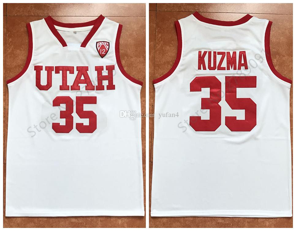 huge selection of 52e07 40463 #35 Kyle Kuzma Utah Utes College Retro Classic Basketball Jersey Mens  Stitched Jerseys