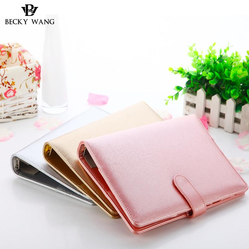 f213fbd82fe4 Rose Gold Silver New Notebook A5 Leather Loose-leaf Notepad Time Planner  Series Diary Memo Travel Journal Agenda 2018