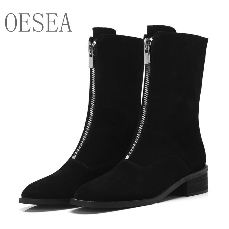 25294b473 Feeling Comfortable New Women Boots 2018 Fashion High End Generous Front  Zipper Boots Cattle Suede Martin Monkey Boots Cheap Football Boots From  Kingless, ...