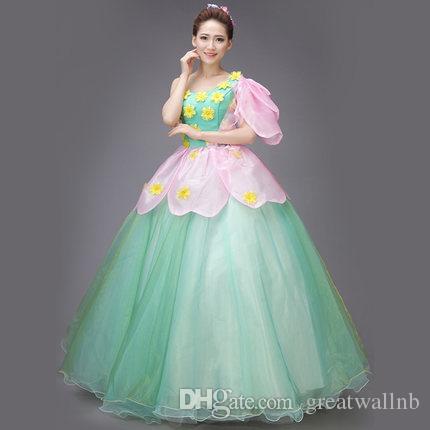 36df7cd077aec pink flower petal carnivl fairy princess long gown medieval dress cartoon  princess Medieval Renaissance Gown queen cosplay Victoria dress