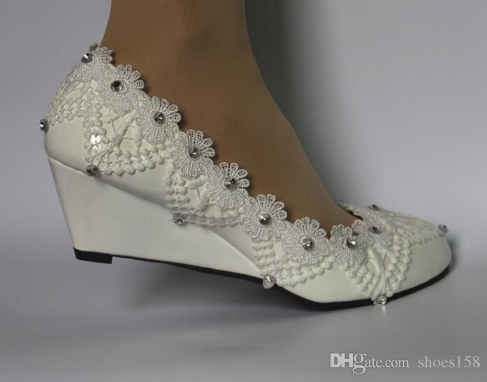 6564611a4ab1 Women Wedding Shoes White Lace Rhinestone Wedge Manual Custom Made Princess  Shoes Fashion Bridal Wedding Shoes Shoes For Women Cheap Shoes From  Shoes158