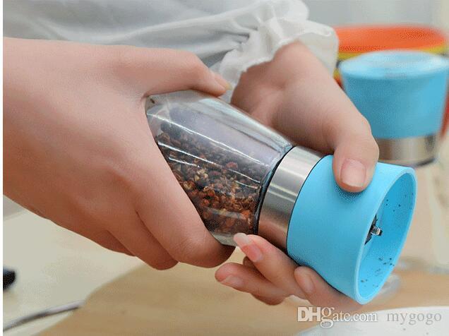 Salt and Pepper mill grinder Glass Pepper grinder Shaker Spice Salt Container Condiment Jar Holder grinding bottles Kitchen Tools