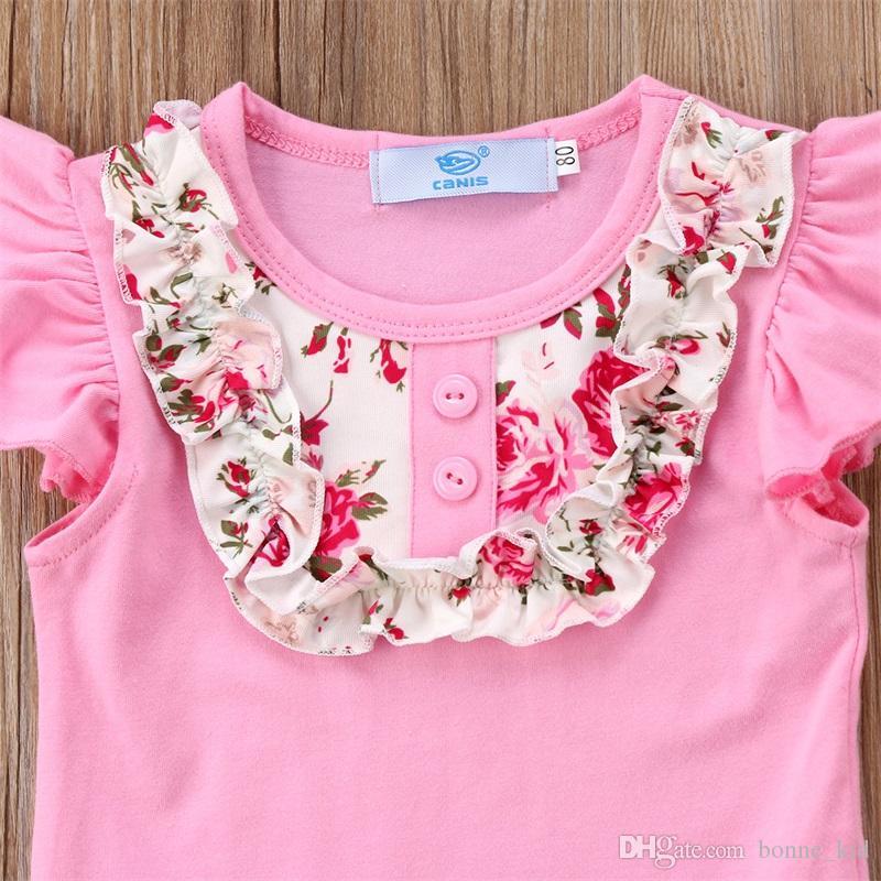 Ragazze bambini vestiti floreale rosa senza maniche top + bell-bottoms 2 pezzi set vestito volant estate vestiti della neonata asilo nido indossa 1-6Y
