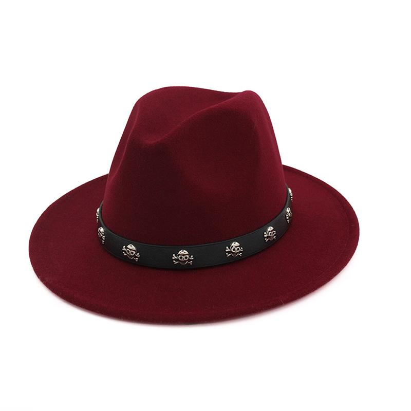 882ee10c47760 Vintage Wool Felt Wide Brim Gambler Fedora Hat Skull Rivet Leather  Decoration Men Women Panama Jazz Formal Top Hat Cap Hats For Women Trilby  Hat From ...