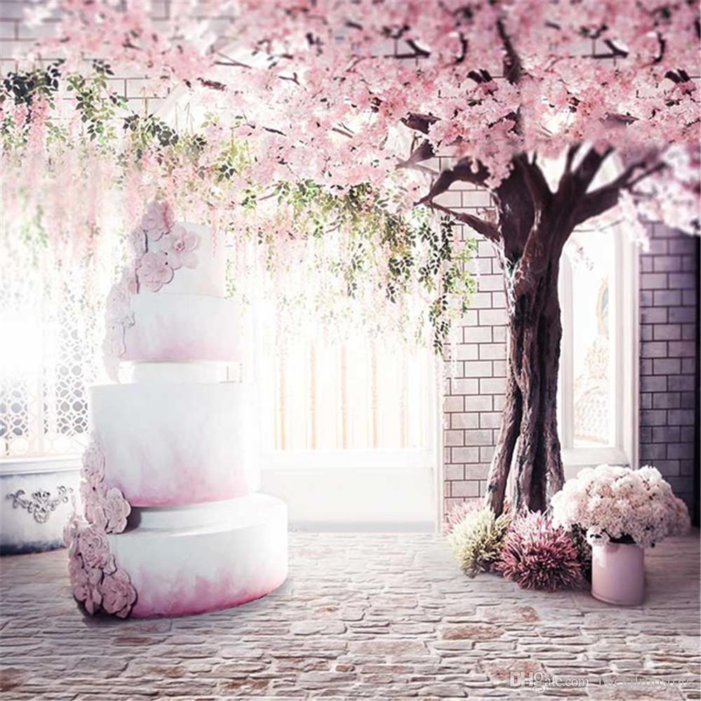 Pink Cherry Flower Tree Indoor Wedding Photography