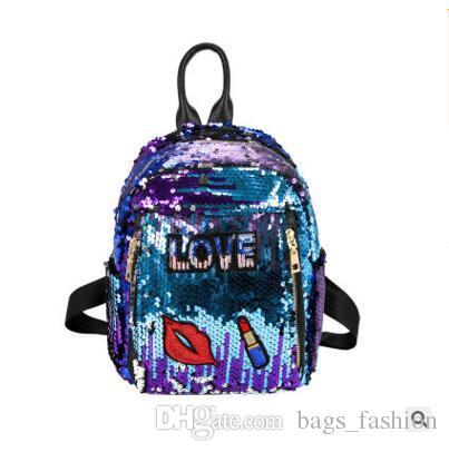 Women Backpacks Famous Brand Lovely Bling Sequins Backpacks LOVE Lip ... b63b9d4f04d30
