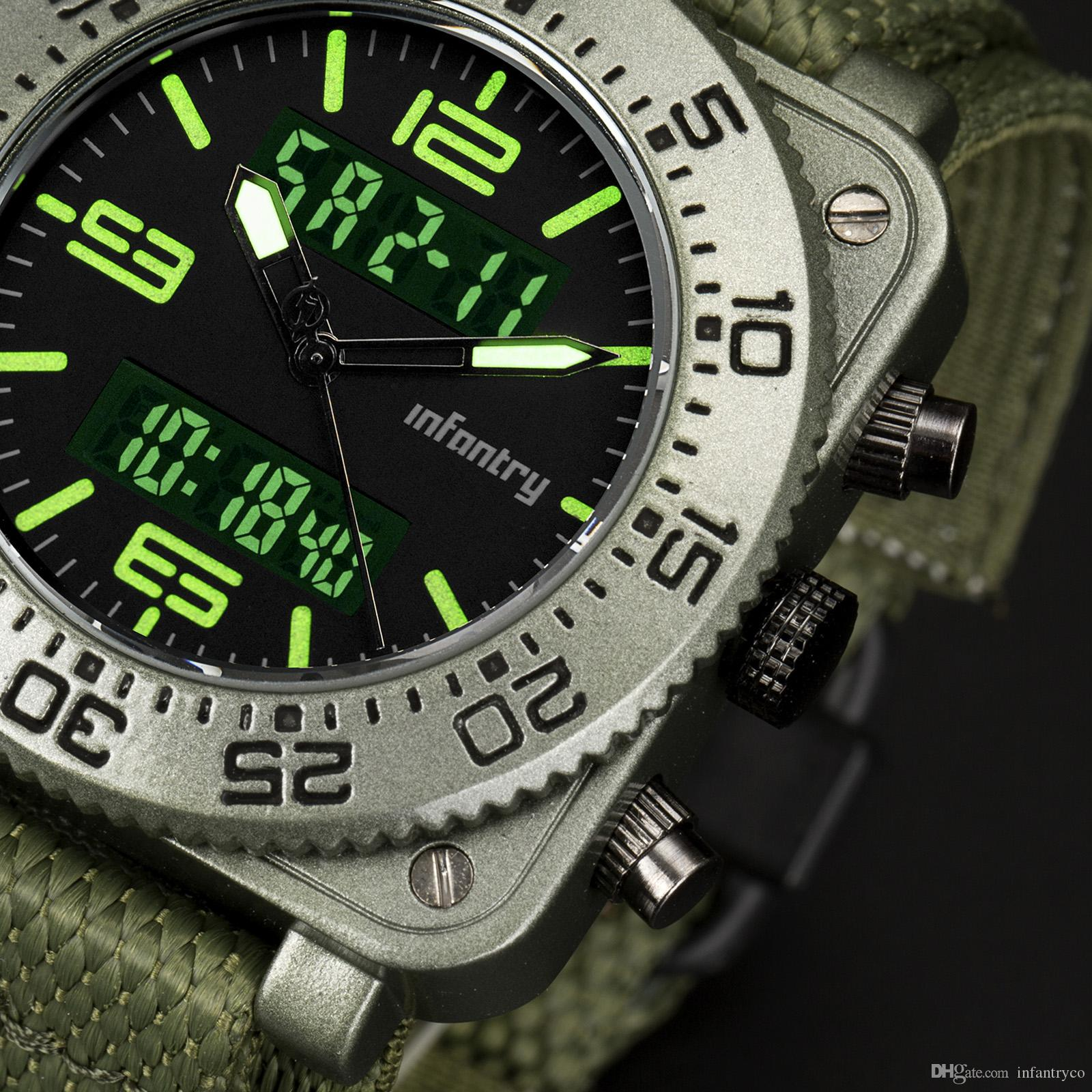 5cf63430f0a Compre INFANTARIA Famosa Marca Mens LED Digital Relógio De Pulso De Quartzo  Moda Esporte Relógios Militar Relógio De Pulso Cronógrafo Nylon Strap  Montre ...
