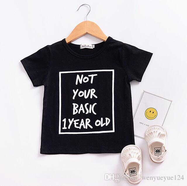 2018 Europe and America New Summer Boy Letter T-Shirt Printed Short Sleeve Pants Set Cotton Black Suitable for 1-3 Years Fashion Two-pi