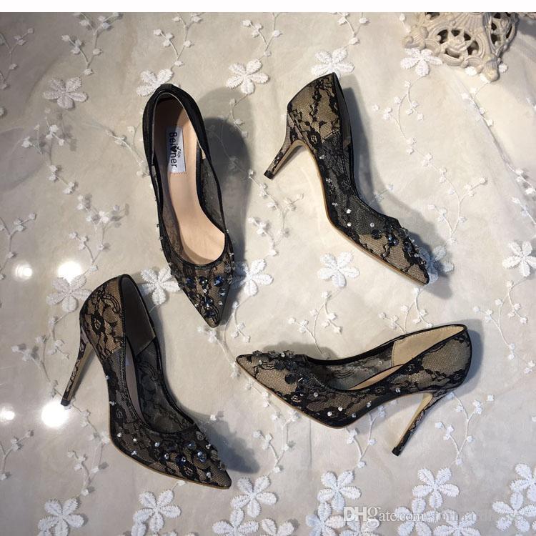 2018 Sapatos de Casamento Pretos Para A Noiva Contas de Renda De Luxo Mulheres Sandálias De Grife De Salto Alto Senhoras Bombas talons hauts Scarpe tacco Barato Verão