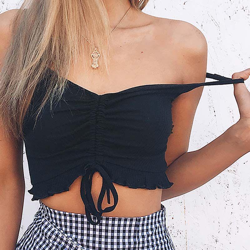 Tricot tops women Lotus leaf lace v-neck sling strap solid color crop top tank vest female black white t shirt