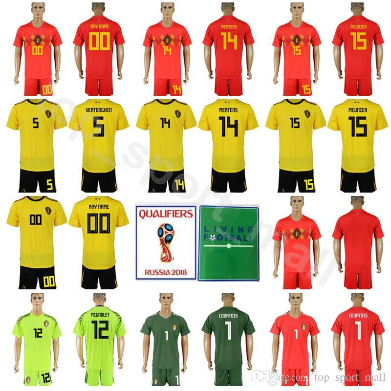 sneakers for cheap 50c06 8c8f9 Belgium 2018 World Cup 4 Vincent Kompany Jersey Set Men Soccer 14 Dries  Mertens 15 Thomas Meunier Football Shirt Kits Home Red Away Yellow
