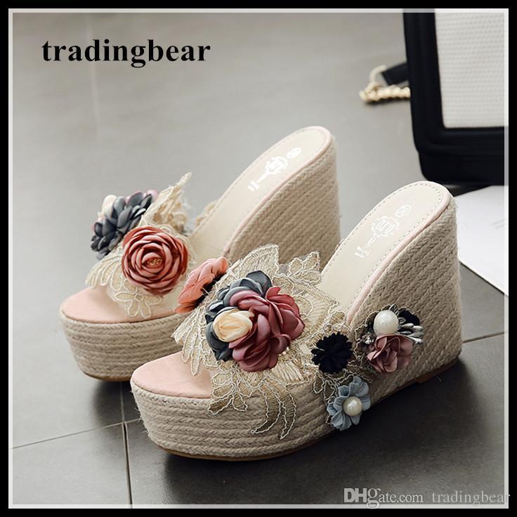 8d46b56845d0 Mori girl flower straw woven summer sandals women high heels designer shoes  platform wedge slipper 2018 size 34 to 40