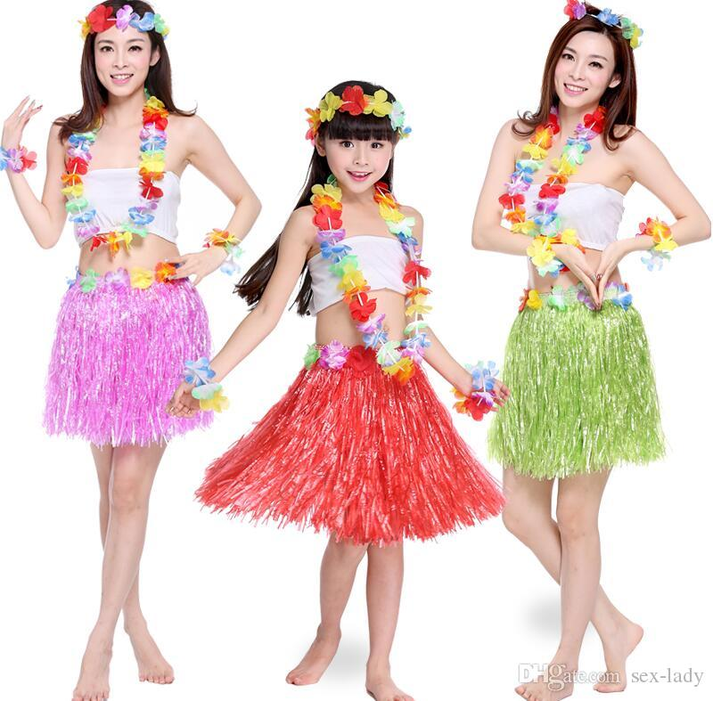 a6e67f564f30 2019 New Plastic Fibers Kid Grass Skirts Hula Skirt Hawaiian Costumes 30/40/60CM  Girl Dress Up Hallowmas Xmas Show Dance Activity Supplies From Sex Lady, ...