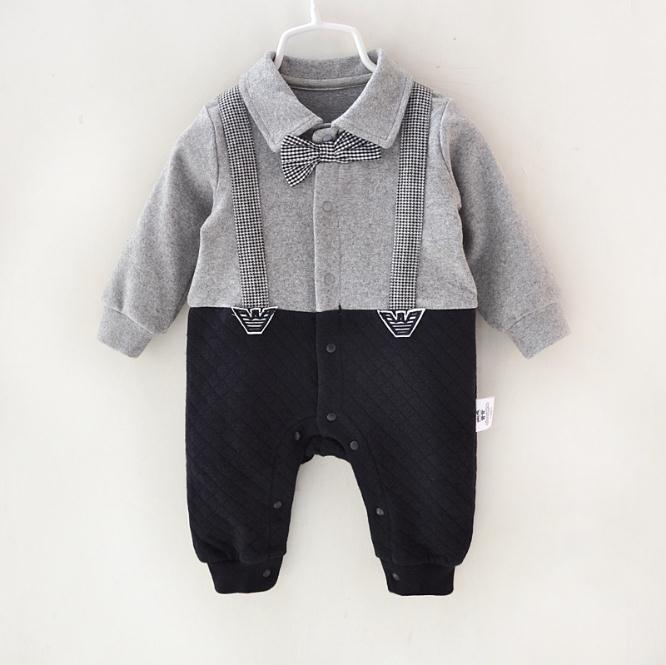 32ab771cb Pamajas Baby Boys Romper Gentleman Air Cotton Ventilate Autumn ...