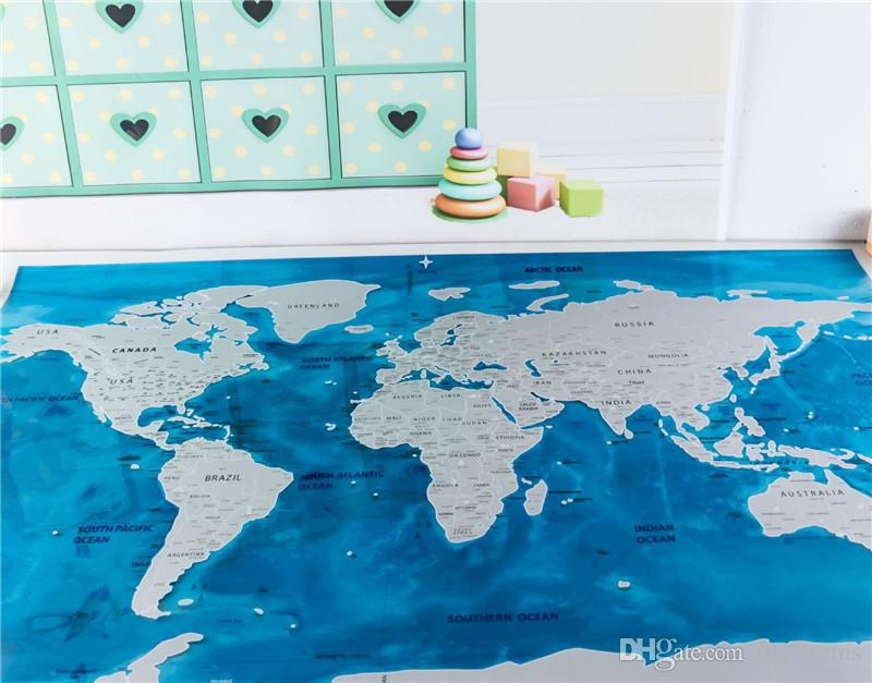Scratch map oceans blue ocean edition scratch off world maps scratch map oceans blue ocean edition scratch off world maps travel world journal map home decor maps wallpaper toys gifts map 815575cm cheap novelty gumiabroncs Images