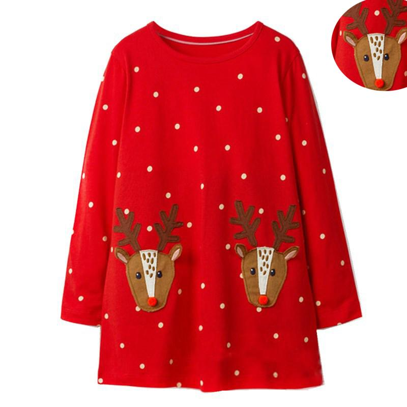 Weihnachten Dot Kleider Mädchen Cartoon Großhandel Kleid Deer Red 08wnPOk