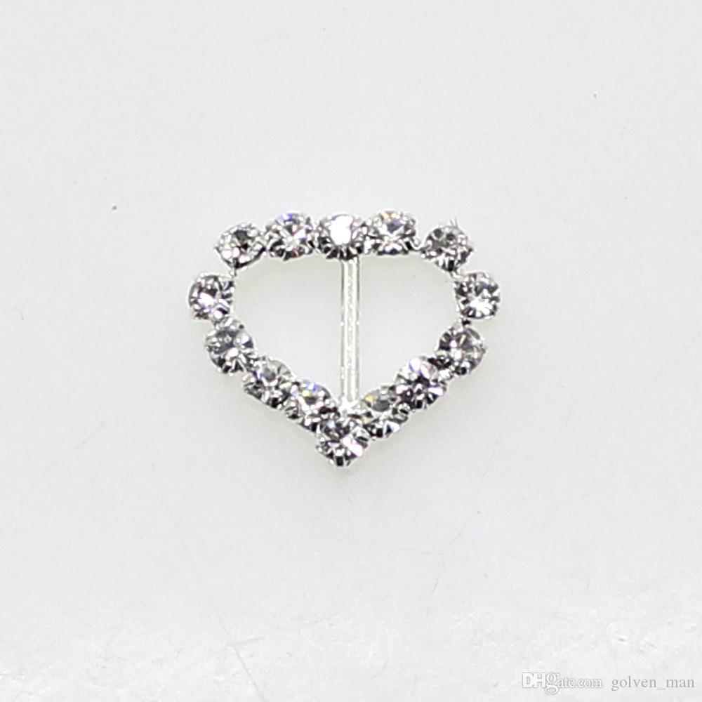 Hot Fashion 50 Pz / lotto 17mm Cuore Fibbia Argento Completo di cristallo Wedding Decoraion invito nastro accessorio di gioielli all'ingrosso