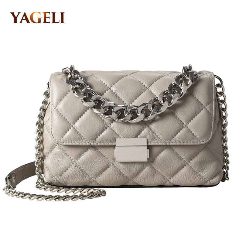 Genuine Leather Chain Shoulder Bags for Women Luxury Handbags Women ... 2117c28f7ec51