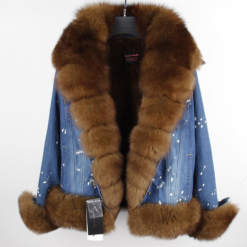 New Women Fox Fur Thick Splice Leather Slim Casual warm waistcoat Coat
