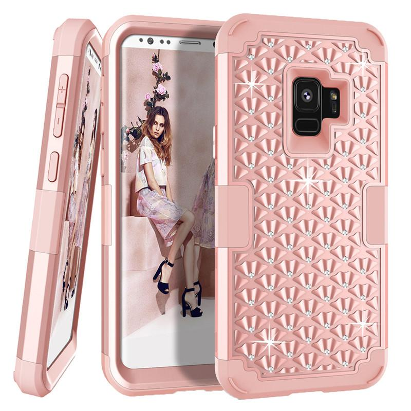 pretty nice 7d0ff f894c For Samsung Note 9 Case Diamond Bling Rhinestone Hybrid Heavy Duty  Shockproof Full-Body Protective Case For Samsung Galaxy Note 9 S9 S9plus