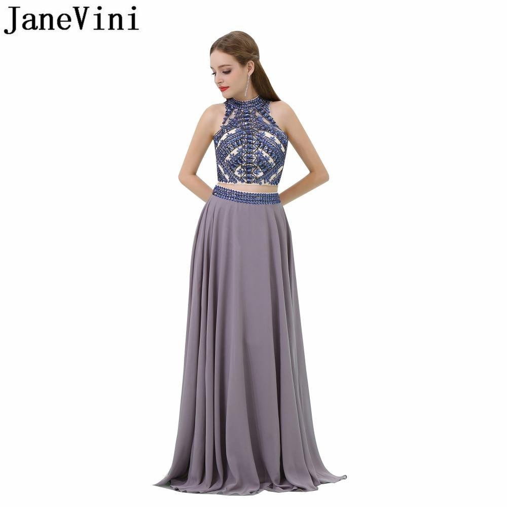 Wholesale Elegant Chiffon Long Plus Size Bridesmaid Dresses A Line High  Neck Backless Two Piece Beads Crystal Prom Dress In Stock Stunning  Bridesmaid ... eb6936c4b877