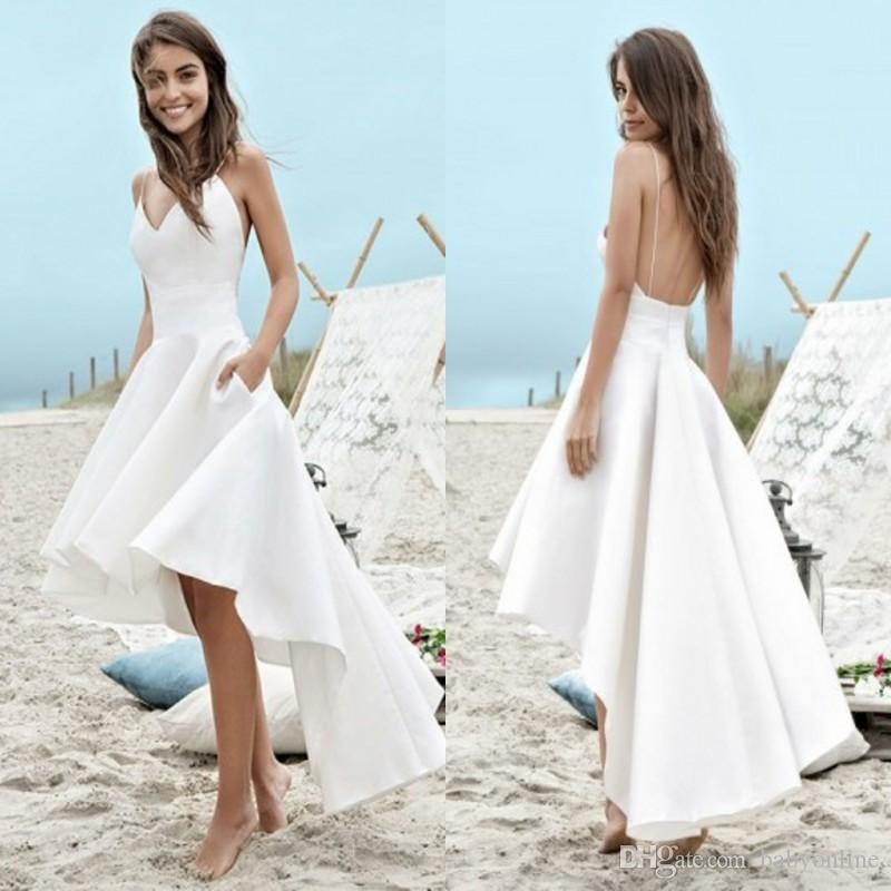 Cheap under $100 Summer Wedding Dresses 2018 A Line Beach Boho Bridal Gowns High Low Backless Spaghetti Straps Holiday Gowns