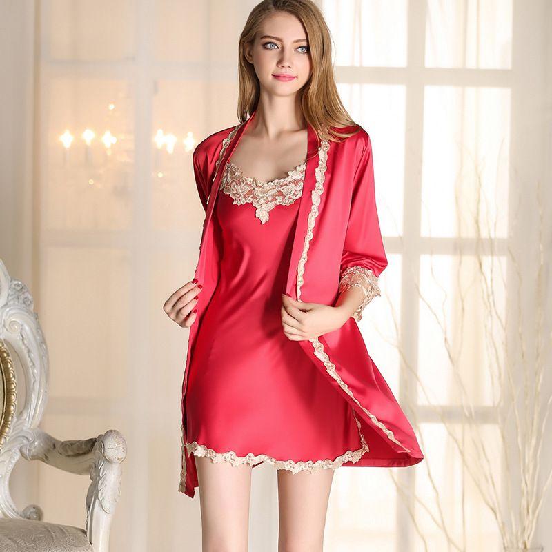 bfc44d4e2be 2019 Lace Silk Satin Bride Robe Nightgown Set Two Piece Wedding Bridesmaid  Night Robes Lingerie Women Bathrobe Sleepwear Sexy Pajamas From Liangcloth