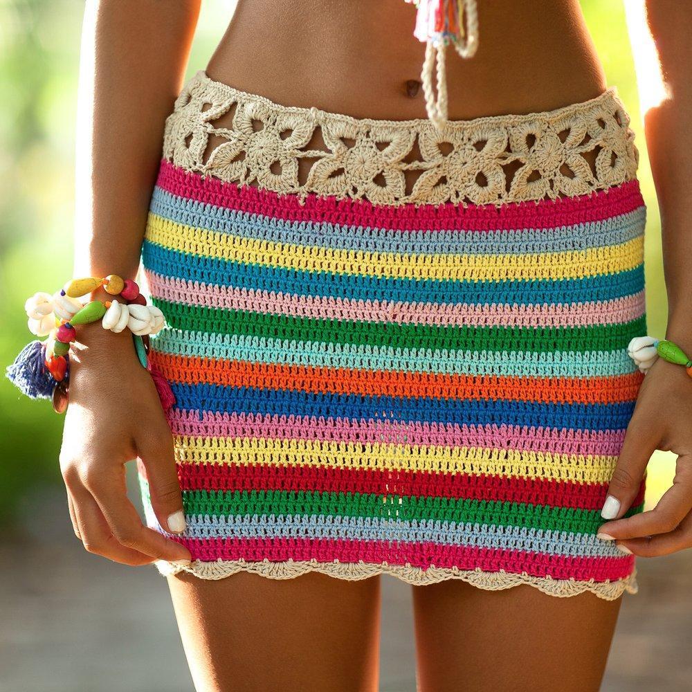 38406d470 2018 color de la moda hecha a mano faldas de playa a rayas de gancho  colorido falda de vacaciones de verano boho lápiz de algodón mini faldas  falda ...